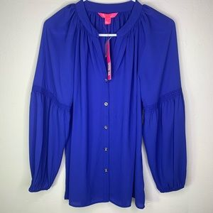 Lilly Pulitzer Royal purple ANELA flowy top blouse
